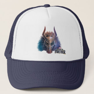 Black Panther   Tribal Mask Overlaid Art Trucker Hat