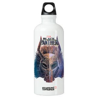 Black Panther   Tribal Mask Overlaid Art Water Bottle