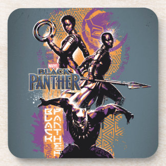 Black Panther | Wakandan Warriors Painted Graphic Coaster