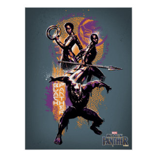 Black Panther | Wakandan Warriors Painted Graphic Poster
