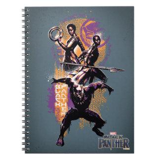 Black Panther   Wakandan Warriors Painted Graphic Spiral Notebook