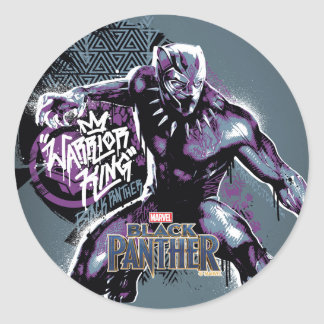 Black Panther | Warrior King Painted Graphic Classic Round Sticker