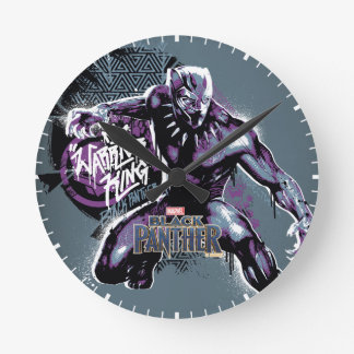 Black Panther | Warrior King Painted Graphic Round Clock