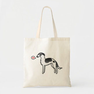 Black Parti-Color Borzoi With A Heart Tote Bag