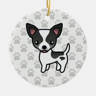 Black Parti Color Smooth Coat Chihuahua Dog Round Ceramic Decoration