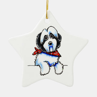 Black Parti Havanese Lil Bone Scarf Ceramic Ornament
