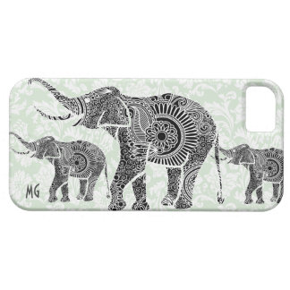 Black & Pastel Pastel Floral Elephant-Monogram iPhone 5 Covers