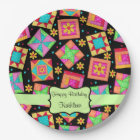 Black Patchwork Quilt Block Name Happy Birthday Paper Plate