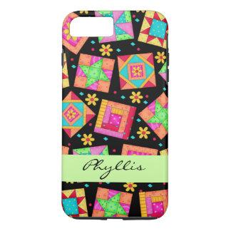 Black Patchwork Quilt Block Name Personalized iPhone 8 Plus/7 Plus Case