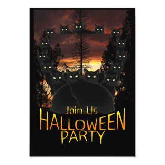 Black Patrol Cats Halloween Party Invitations