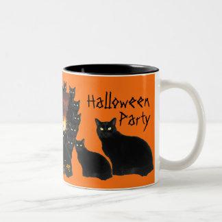 Black Patrol Cats Halloween Party Mugs