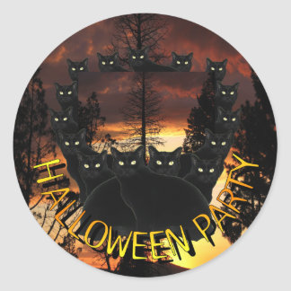 Black Patrol Cats Halloween Party Stickers