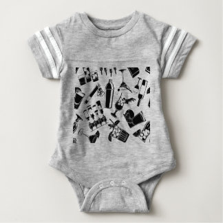 Black Pattern Cocktail Bar Baby Bodysuit