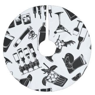 Black Pattern Cocktail Bar Brushed Polyester Tree Skirt
