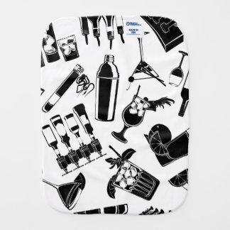 Black Pattern Cocktail Bar Burp Cloth