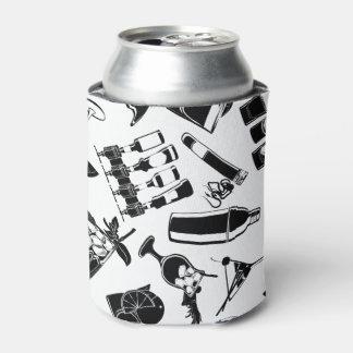 Black Pattern Cocktail Bar Can Cooler