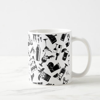 Black Pattern Cocktail Bar Coffee Mug