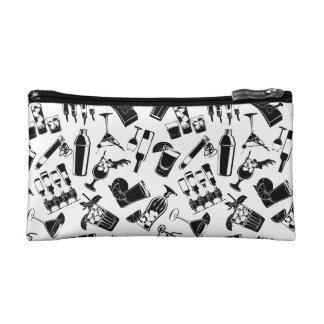 Black Pattern Cocktail Bar Cosmetic Bag