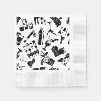 Black Pattern Cocktail Bar Disposable Serviette