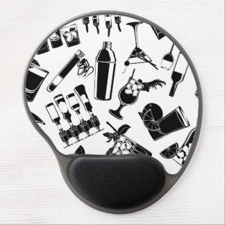 Black Pattern Cocktail Bar Gel Mouse Pad