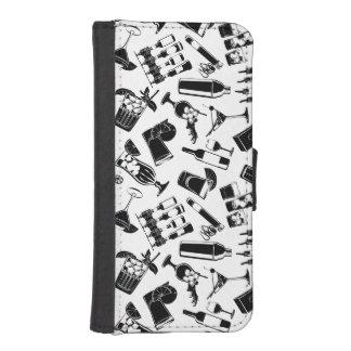Black Pattern Cocktail Bar iPhone SE/5/5s Wallet Case