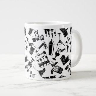 Black Pattern Cocktail Bar Large Coffee Mug