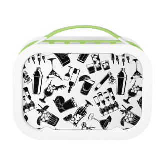 Black Pattern Cocktail Bar Lunch Boxes