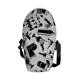 Black Pattern Cocktail Bar Messenger Bag