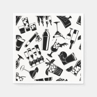 Black Pattern Cocktail Bar Paper Napkins