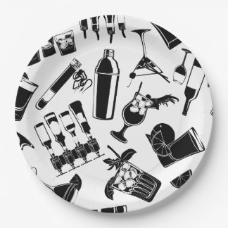 Black Pattern Cocktail Bar Paper Plate