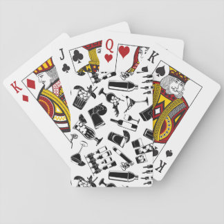 Black Pattern Cocktail Bar Playing Cards