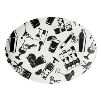 Black Pattern Cocktail Bar Porcelain Serving Platter