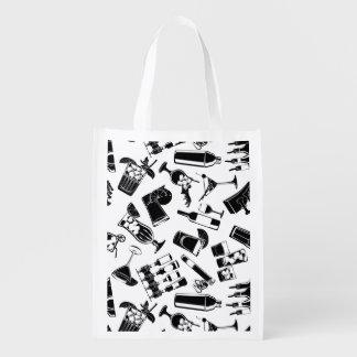 Black Pattern Cocktail Bar Reusable Grocery Bag