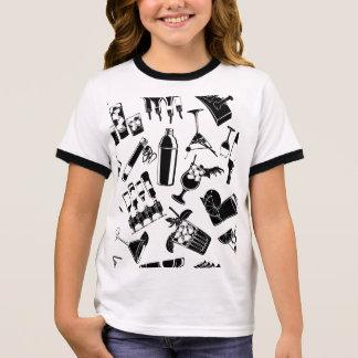 Black Pattern Cocktail Bar Ringer T-Shirt