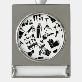 Black Pattern Cocktail Bar Silver Plated Banner Ornament