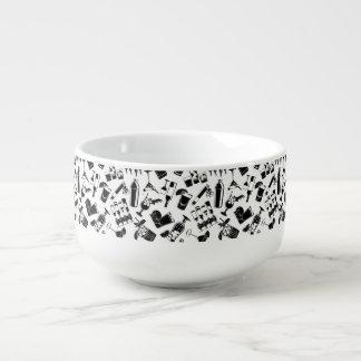 Black Pattern Cocktail Bar Soup Mug