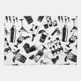 Black Pattern Cocktail Bar Tea Towel