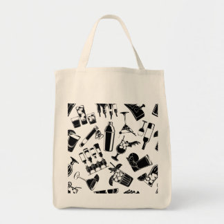 Black Pattern Cocktail Bar Tote Bag