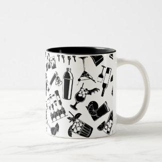 Black Pattern Cocktail Bar Two-Tone Coffee Mug