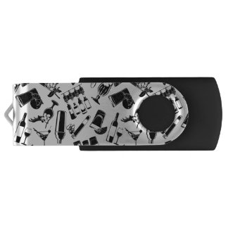 Black Pattern Cocktail Bar USB Flash Drive