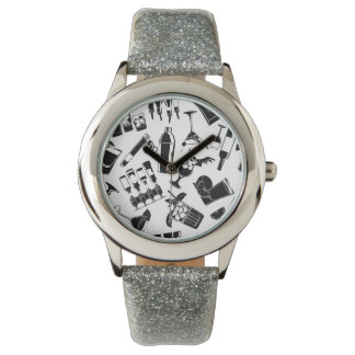 Black Pattern Cocktail Bar Watch