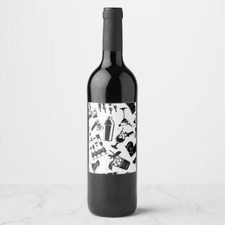 Black Pattern Cocktail Bar Wine Label