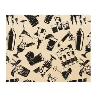 Black Pattern Cocktail Bar Wood Print