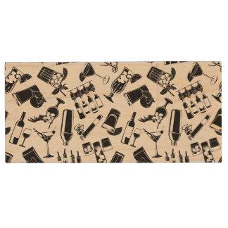 Black Pattern Cocktail Bar Wood USB Flash Drive
