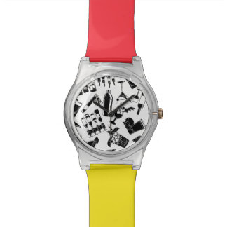 Black Pattern Cocktail Bar Wrist Watches