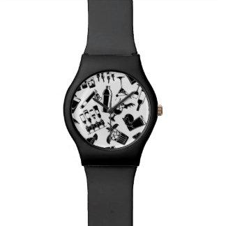 Black Pattern Cocktail Bar Wristwatch