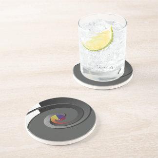 Black Pattern, Drinking Coaster - 4 Box Swirl