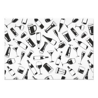Black Pattern Drinks and Glasses Art Photo