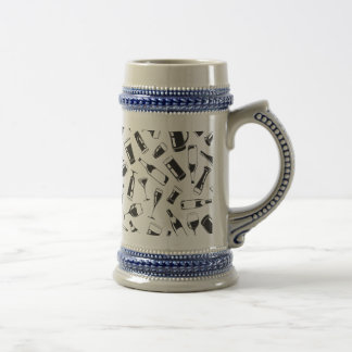 Black Pattern Drinks and Glasses Beer Stein