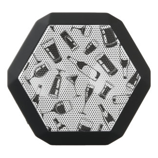 Black Pattern Drinks and Glasses Black Bluetooth Speaker